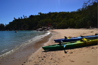 green and blue kayaks on a beach