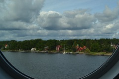 View of Stockholm Archipelago through cabin porthole